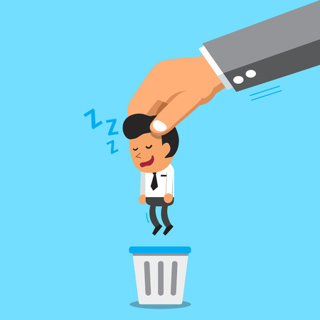big bin: Business big hand throwing a sleeping businessman to trash bin Illustration