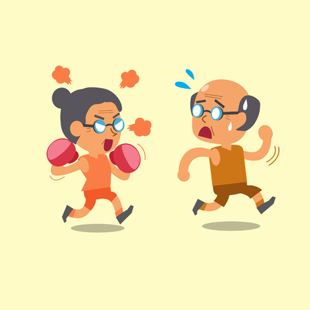 female boxing: Cartoon sport old woman and old man Illustration