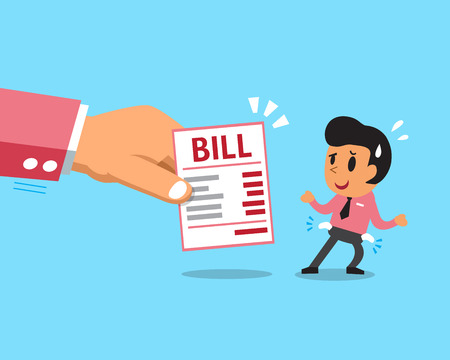 pay bill: Cartoon businessman does not have money to pay bill Illustration