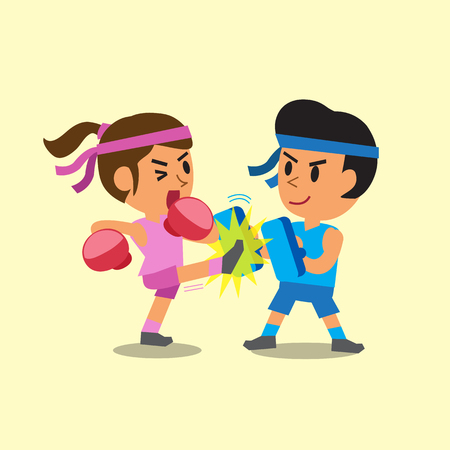 female boxing: Cartoon sport woman and man doing kickboxing training