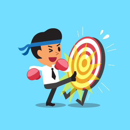 inaccurate: Businessman kicking a target Illustration