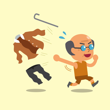 Cartoon old man changing clothes to sportswear