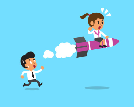 faster: Businesswoman move faster than businessman