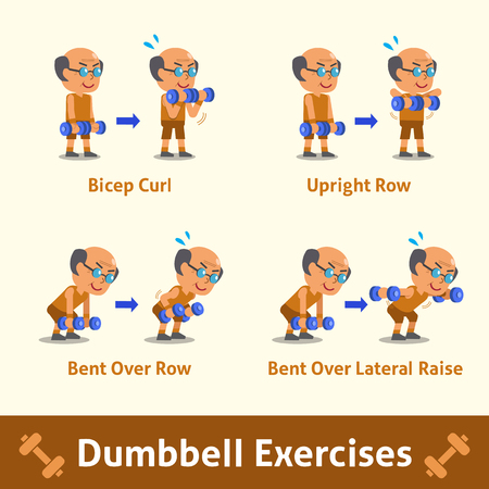 bicep curls: Cartoon set of old man doing dumbbell exercise step for health and fitness