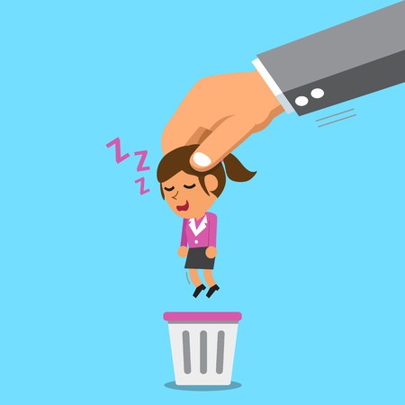 big bin: Business big hand throwing a sleeping businesswoman to trash bin Illustration