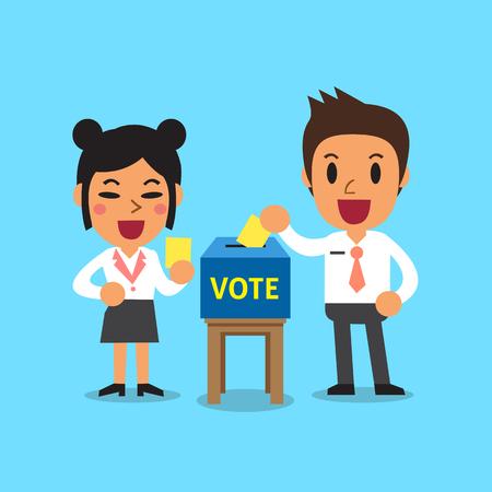 Ludzie biznesu stawia głosowanie papier w tajnego głosowania pudełku
