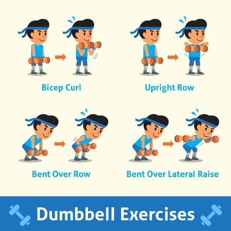 Cartoon set of a man doing dumbbell exercise step for health and fitness Illustration