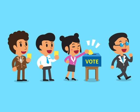 투표 용지에 투표 용지를 넣는 사람들 만화 일러스트