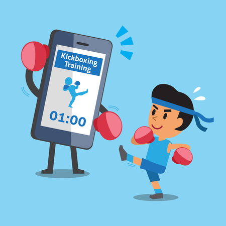 kickboxing: Cartoon smartphone helping a man to do kickboxing training