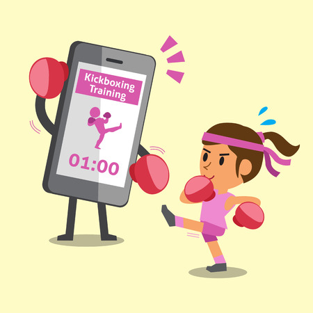 kickboxing: Cartoon smartphone helping a woman to do kickboxing training
