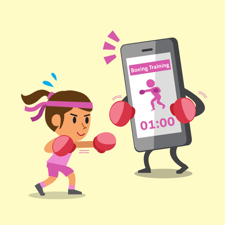character cartoon: Cartoon smartphone helping a woman to do boxing training