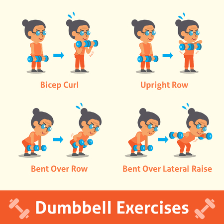 step fitness: Cartoon set of old woman doing dumbbell exercise step for health and fitness Illustration