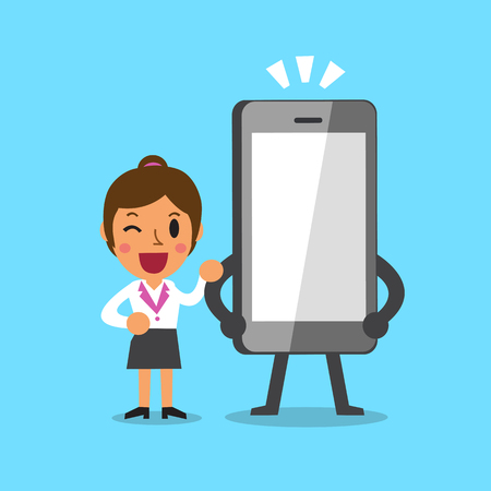 Cartoon Unternehmerin und Smartphone Standard-Bild - 52180740
