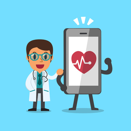 character cartoon: Cartoon doctor and smartphone Illustration