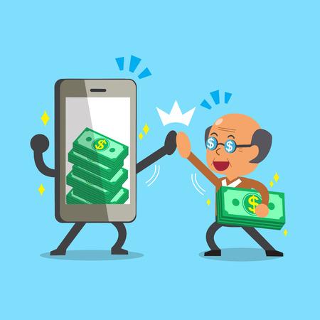earning: Cartoon old man and smartphone earning money