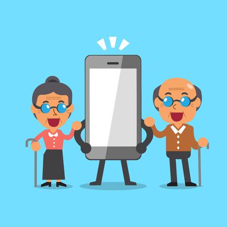 Cartoon senior mensen en smartphone Stock Illustratie