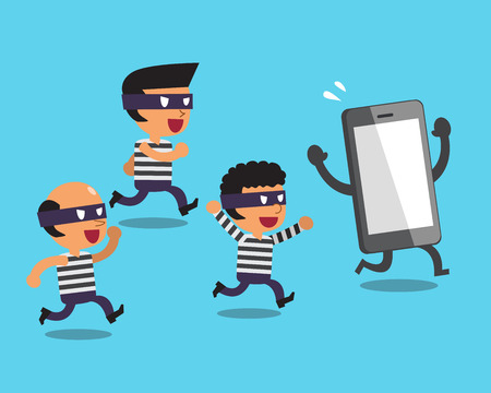 escape plan: Cartoon thieves and smartphone Illustration