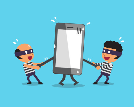 stealing: Cartoon thieves stealing big smartphone