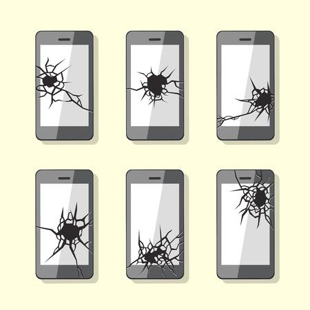 portable failure: Set of broken smartphone