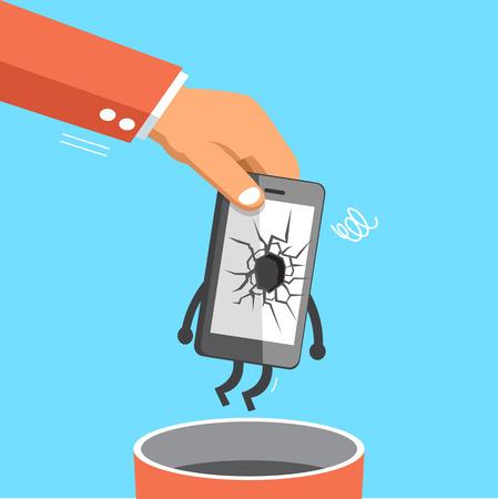 Zakelijke grote hand gooien van een gebroken smartphone bin prullenbak