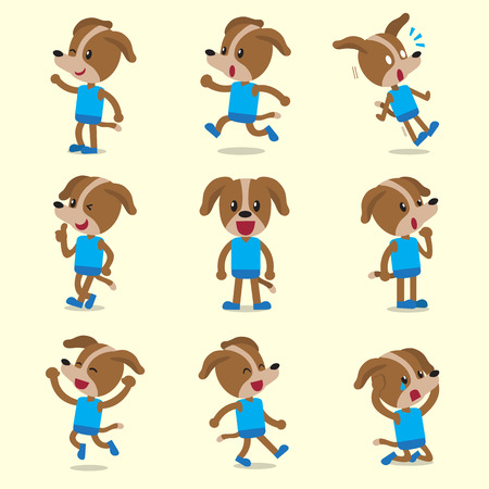 character poses: Cartoon dog character poses on yellow background
