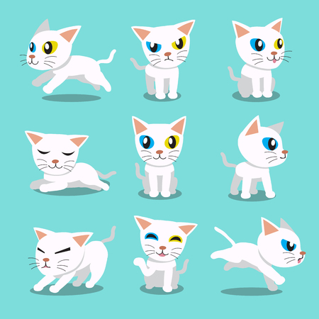 siamese cat: Cartoon character siamese cat poses Illustration