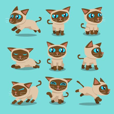 Cartoon character siamese cat poses