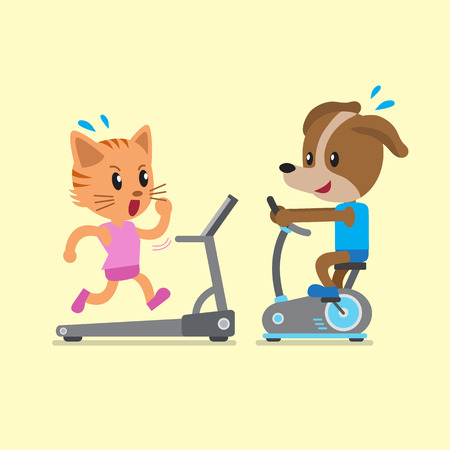 cute cat cartoon: Cartoon cat and dog doing exercise with exercise bike and treadmill Illustration