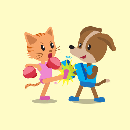 dog: Cartoon cat and dog doing kickboxing training