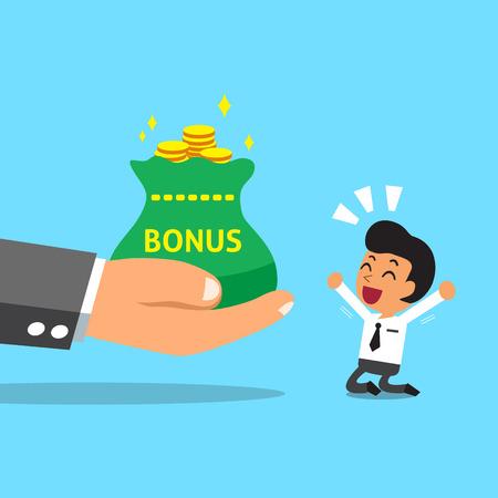 winner man: Business big hand giving bonus money to businessman Illustration