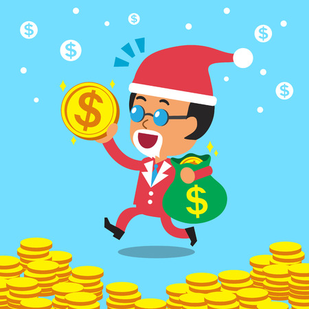 cartoon business: cartoon business boss carrying money bag with christmas theme