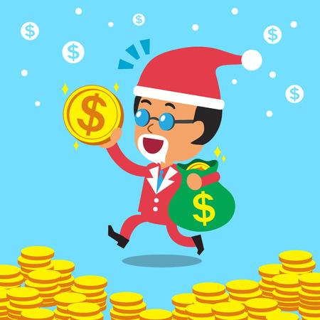 obrero caricatura: historieta jefe de negocios con bolsa de dinero con el tema de la Navidad Vectores