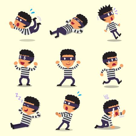 Cartoon thief character poses