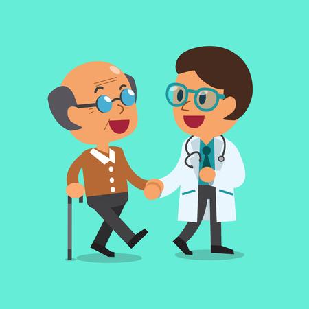 Médico de dibujos animados ayudar al hombre viejo para caminar