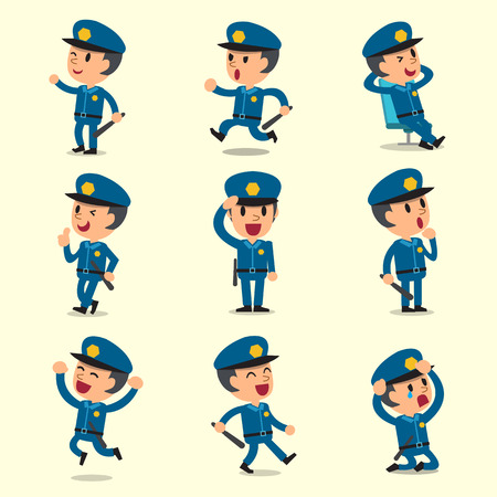 Cartoon policeman character poses on yellow background