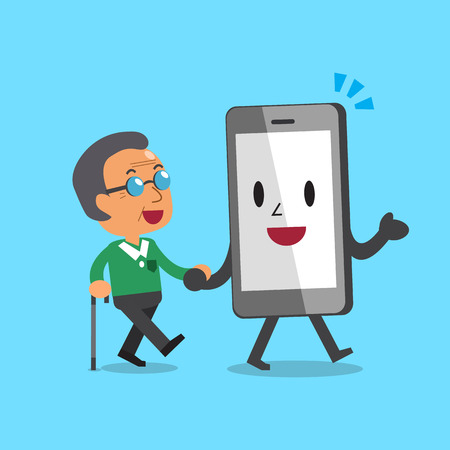 good friends: Cartoon smartphone character helping old man to walk