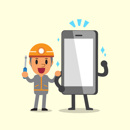 cellphone: Cartoon a technician and smartphone character Illustration