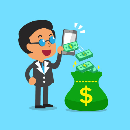 earn money: Business concept businessman using smartphone to earn money