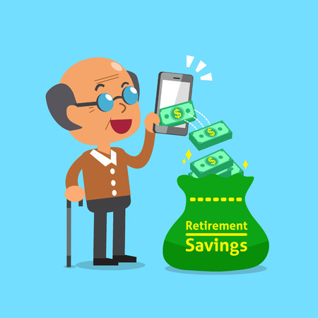passive earnings: Business concept old man using smartphone to earn money