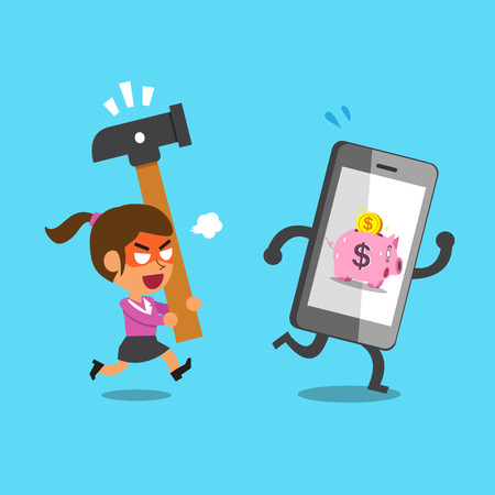 cartoon bank: Business concept smartphone with pink piggy bank escaping from businesswoman