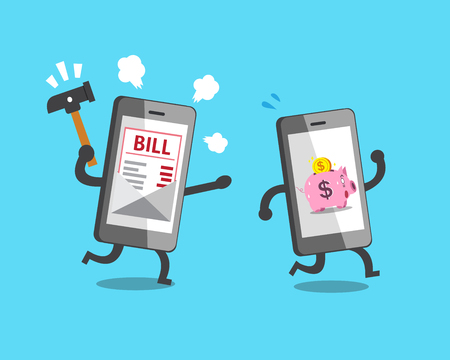 Business concept smartphone with pink piggy bank escaping from smartphone with bill payment