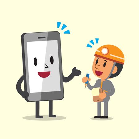 technicus cartoon en smartphone karakter Stock Illustratie