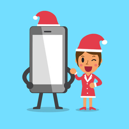 happy group: Cartoon woman and smartphone with christmas theme