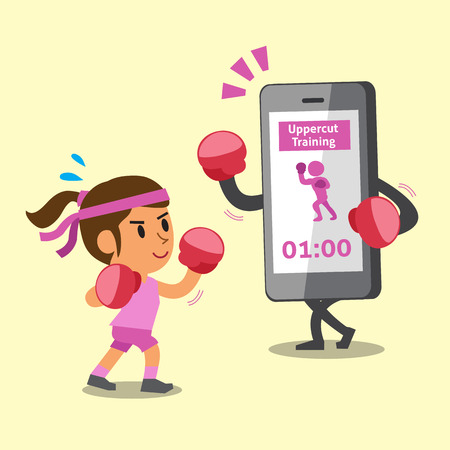 women exercise: Cartoon smartphone helping woman to do uppercut punch training