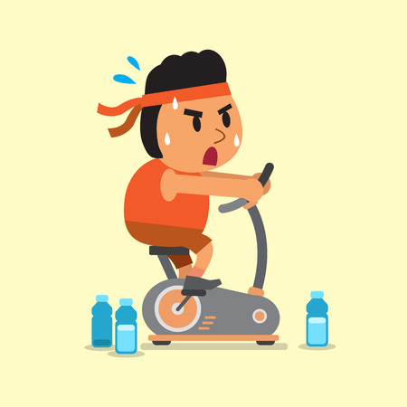 Cartoon a fat man riding exercise bike