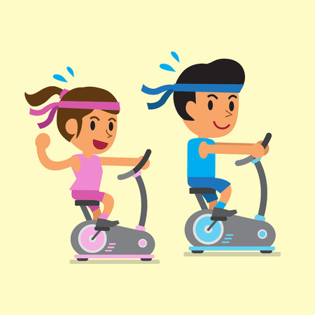 exercise bike: Cartoon a man and a woman riding exercise bikes