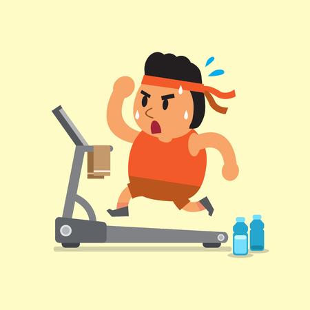 weight loss man: Cartoon fat man running on treadmill