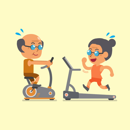 sport cartoon: Cartoon senior people doing exercise with exercise bike and treadmill