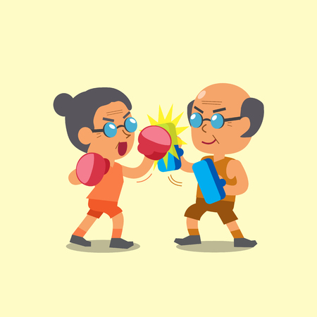 women exercise: Cartoon sport old woman and old man doing uppercut punch training