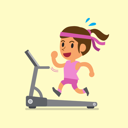 smart girl: Cartoon woman running on treadmill